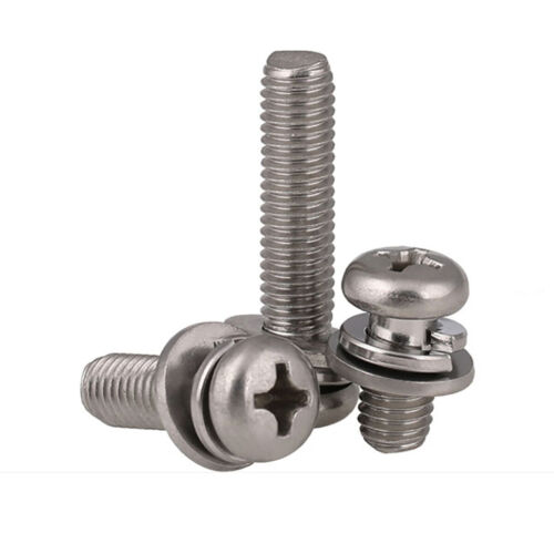 Phillips Pan Head Machine Screws Sping//Flat Washer Kit Screw 304 Stainless Steel