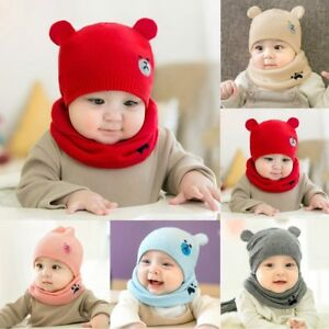 193728de16a Puseky Hooded Scarf Ear flap Knitted Cap Hats Warm Bear Round ...
