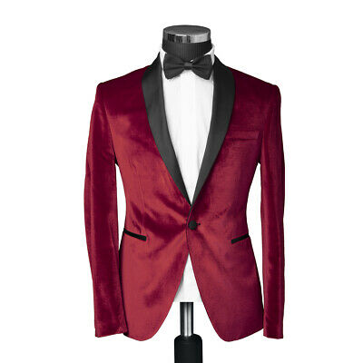 Slim Fit Samt Smoking Sakko Rot Herren Hochzeit Bühne Anzug Jacket Blazer Party   eBay