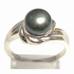 7-5-8mm-AAA-Genuine-Cultured-Black-Pearl-2-6g-925-Sterling-Silver-Ring