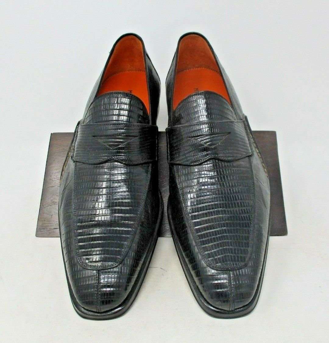 Magnanni nero Lizard Loafers Dimensione 8 US (SAMPLE) 1283