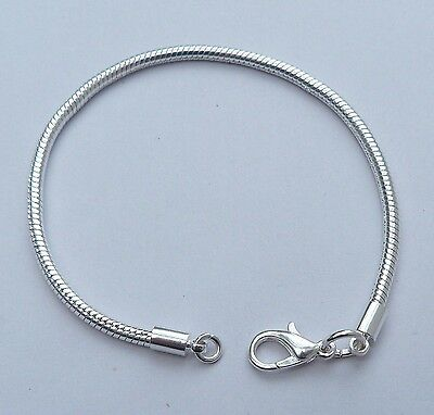 925 Sterling Silver Charm Bracelet European Lobster Clasp 8 inch