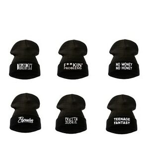 9b0c21ff6b9 Image is loading BEANIE-HATS-WOOLY-WINTER-DISOBEY-WASTED-YOUTH-BLACK-
