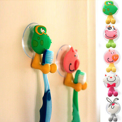 Cute Cartoon Animal Sucker Plastic Toothbrush Wall Holder Suction Cup Bathroom