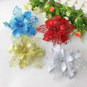 5x-Glitter-KA-nstliche-Blumen-Christbaumschmuck-Kranz-Weihnachtsgeschenke-ewDkc