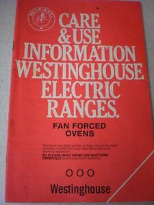 WESTINGHOUSE-ELECTRIC-RANGES-FAN-FORCED-INSTRUCTIONS-CARE-amp-RECIPES-Book