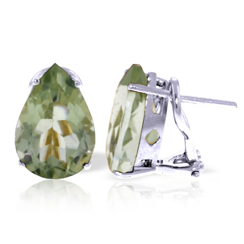 10 Carat 14K Solid White gold Generations Green Amethyst Earrings