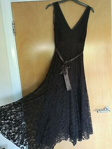 Ladies-NEW-LOOK-Dress-Size-8-10-Brown-Lace-Fit-And-Flare-Party-Evening-Wedding