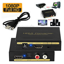 1080P HDMI to HDMI Converter SPDIF RCA Analog Audio Extractor Adapter +USB Cable