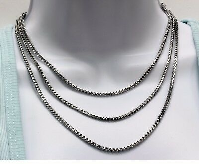 """925 Sterling Silver Franco Square Wheat Chain Necklace 1.5 mm Thick 16/"""" Or 18/"""""""