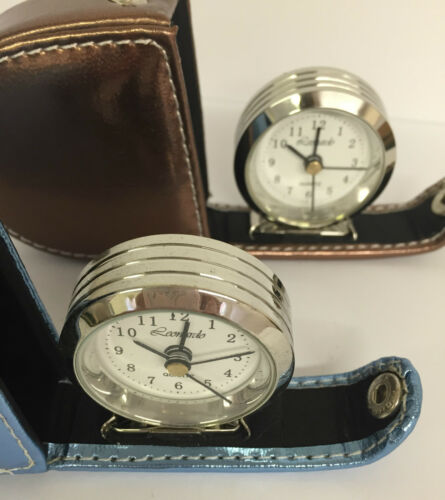 Compact dual temps voyage réveil avec effet cuir coloré cas ~ 16771