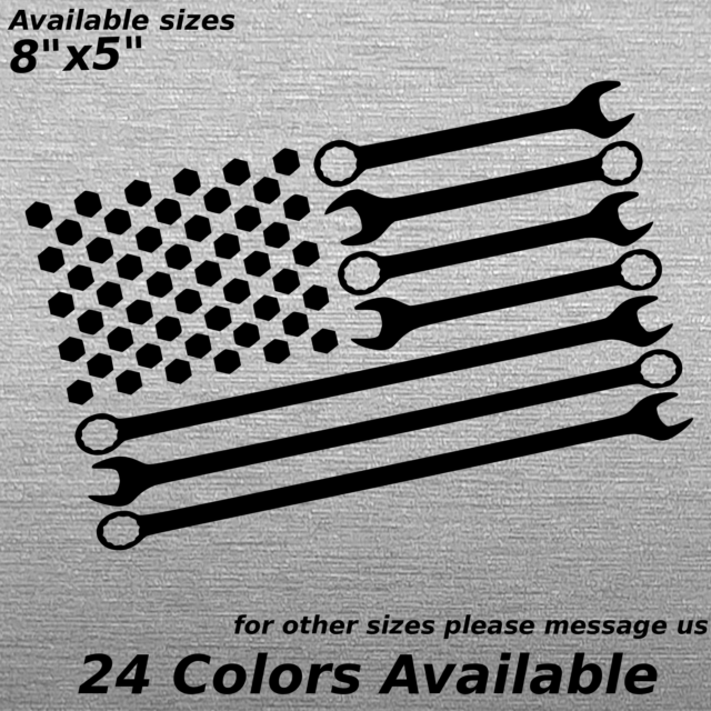 Wrenches And Bolts American Flag Decal Sticker Mechanic
