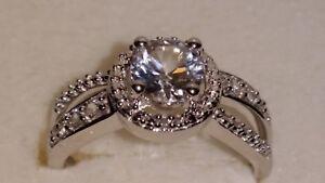 * Brillant * Kay Jewelers Sterling Argent Lab Créé White Sapphire Halo Ring-afficher Le Titre D'origine