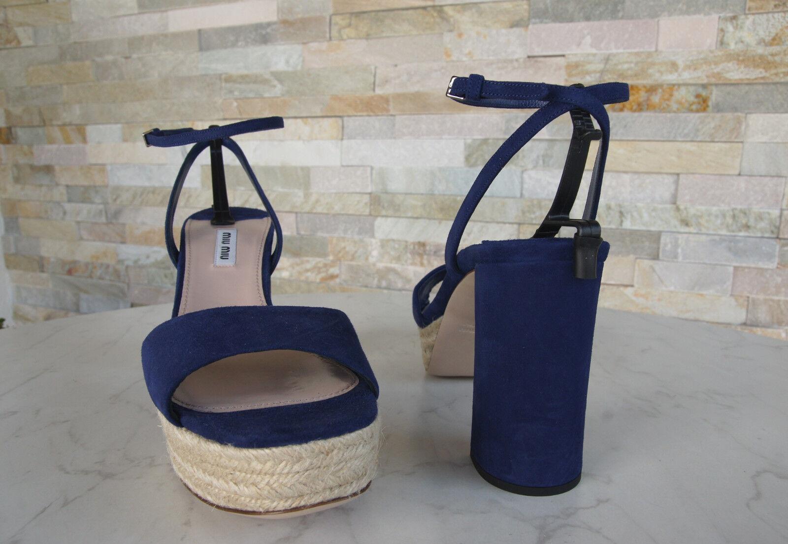 MIU CANAPA Miu taglia 41 Plateau Sandali Sandals Scarpe CANAPA MIU BLU NAVY NUOVO UVP 117aca