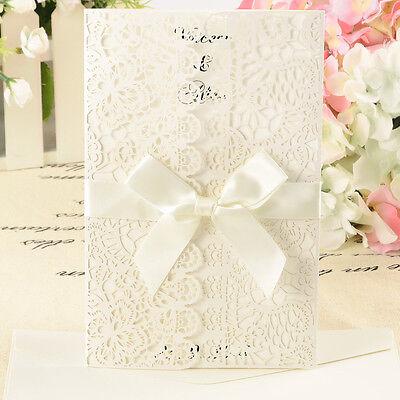 10tlg Einladungskarten Spitze Design Umschlag Hochzeit Einladung #96