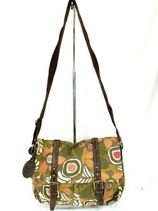 FOSSIL-Multicolored-Crossbody-Computer-Bag-Bookbag-Canvas-With-Leather-Accents