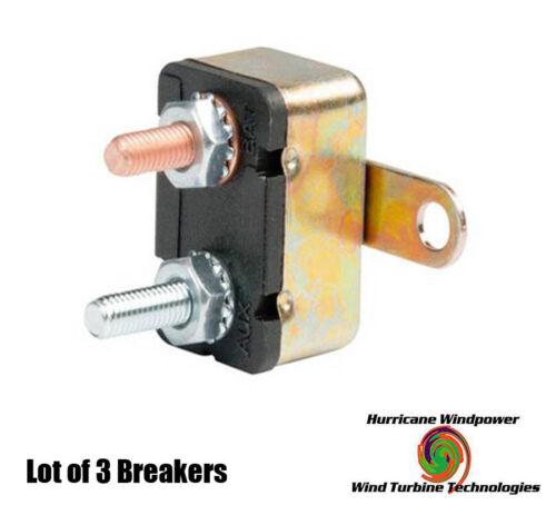Solar Lot of 3-12 volt 20 Amp DC Auto Reset Circuit Breaker Type 1 for Wind