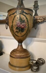 Antique French Tole Peinte Floral Ribbons Table Lamp Ebay