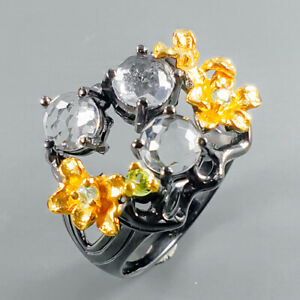 Gemstone-ring-Natural-Quartz-925-Sterling-Silver-Ring-Size-9-R95985