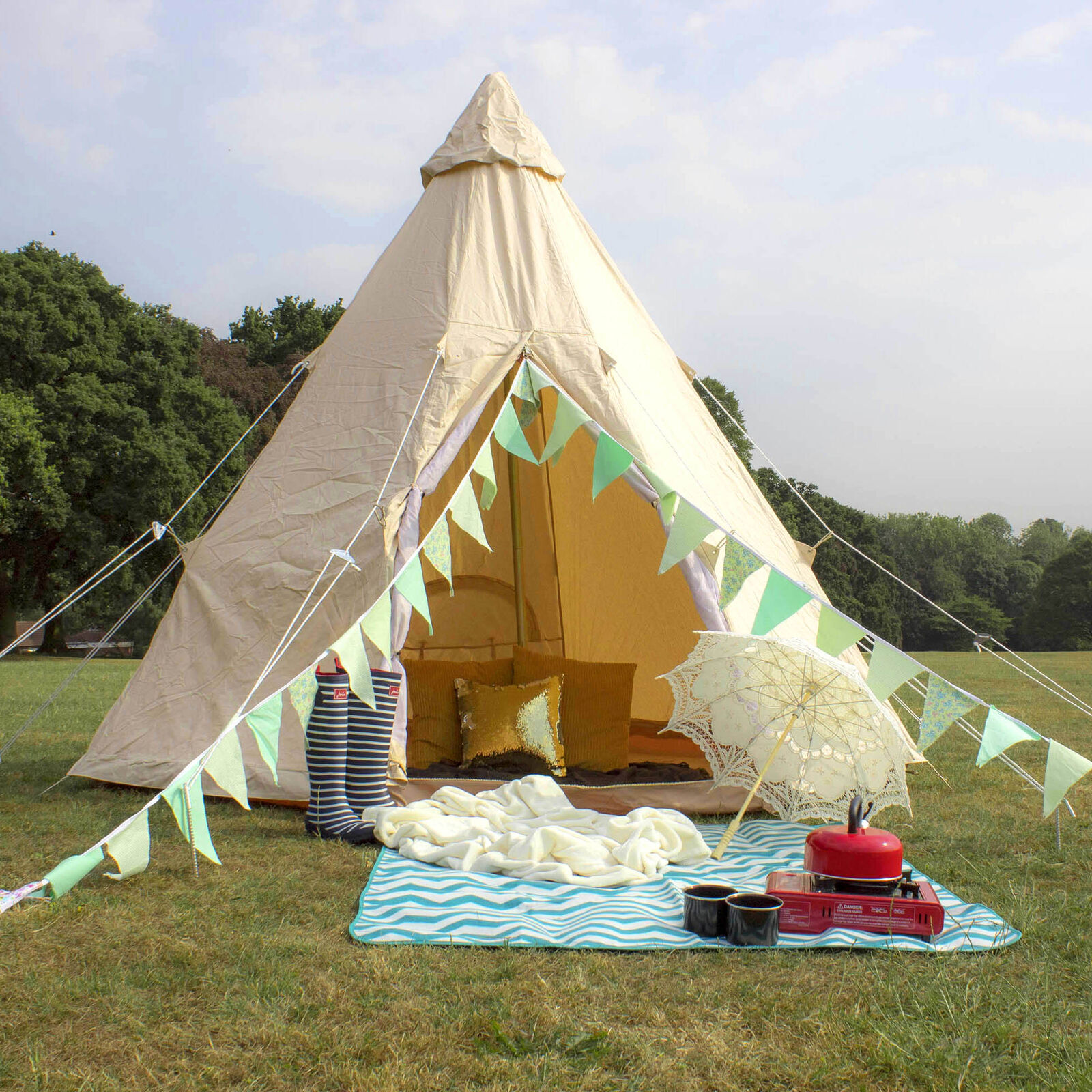 Glastonbury Glastonbury Glastonbury Wasserfest 4 Person Glamping Festival Wigwam Tipi Zelt 7ad1a2