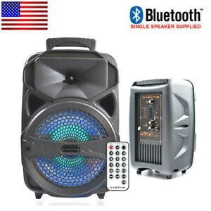 "8"" Party Portable PA Bluetooth Speaker System Big Led Stereo Tailgate Loud USB"