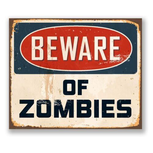 The Walking Dead Beware ZOMBIES Retro Door Metal Aluminium Pub Bar Vintage SIGN