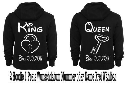 Hoodie mit King Queen Motiv Pullover Partner Look Sweatshirt XS-5XL Hochzeit