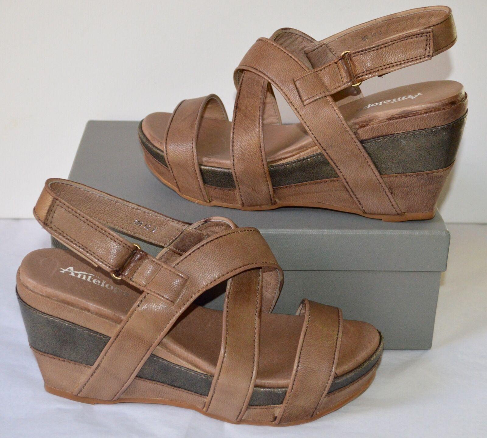New 195 Antelope Style 695 Taupe Brush Leder Sandale Sandale Sandale Wedge/Platform sz 40/9 145dd6