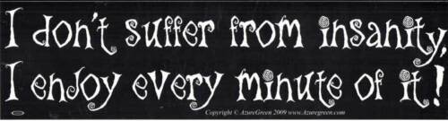"""I Enjoy Every Minute of It!/"""" Funny Bumper Sticker /""""I Don/'t Suffer From Insanity"""