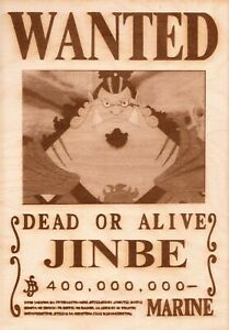 One Piece - Jinbe Wooden Wanted Poster