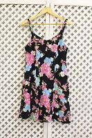 vintage black pink floral mini strapy smock 80s 90s grunge dress S 8 10