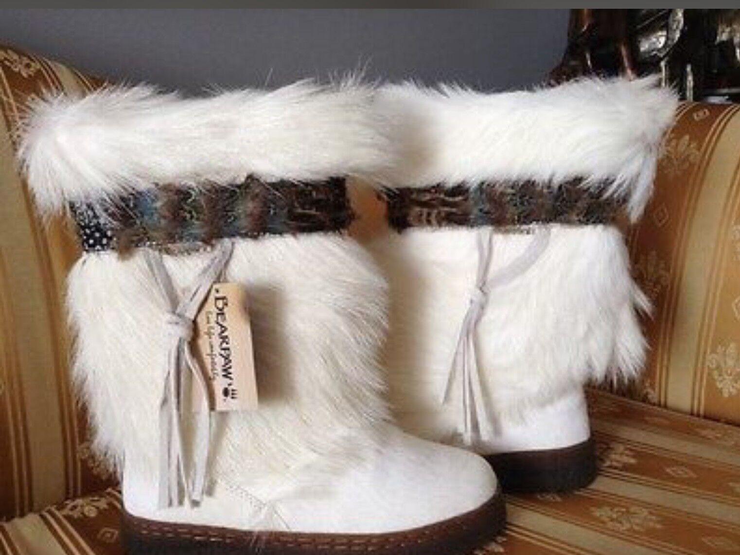 BEARPAW BEARPAW BEARPAW KOLA II BOOTS Goat FUR SHEEPSKIN Après Ski WHITE 7M (6-6.5M) edbed0