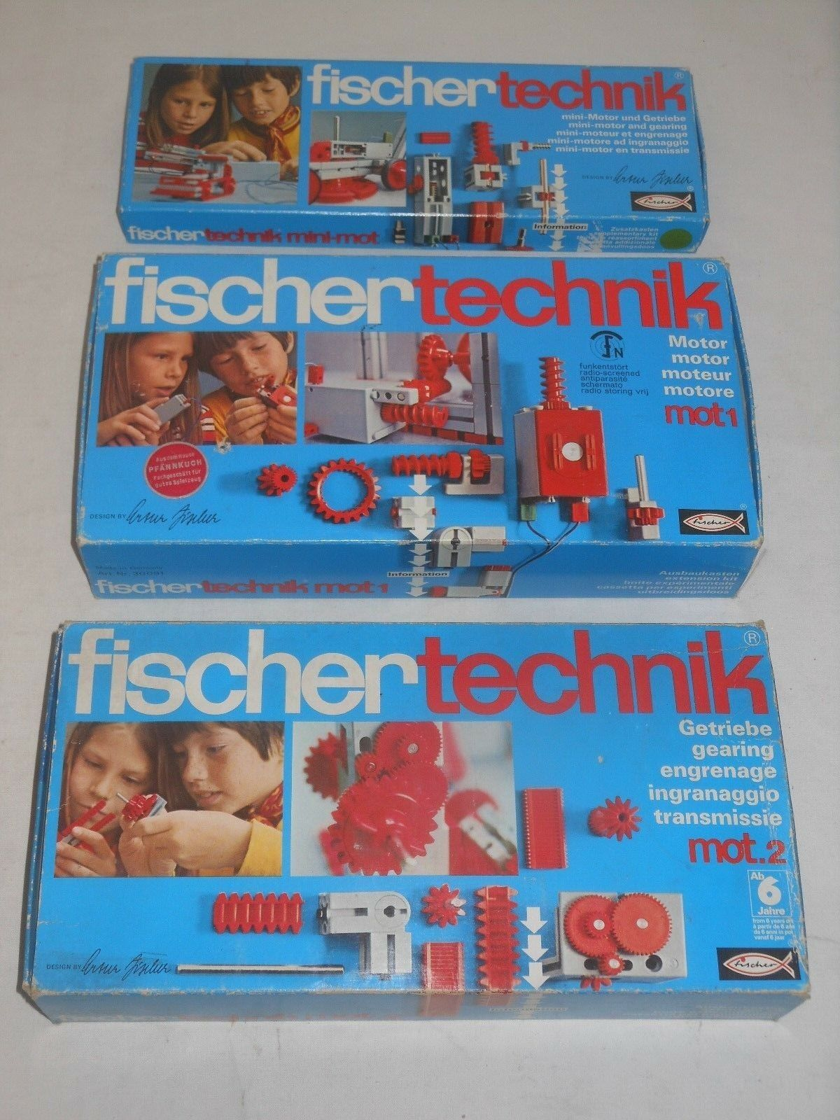 Fischertechnik Lot Sets Mot. 1 Motor + Mot. 2 Transmission + Mini Motor Gearbox