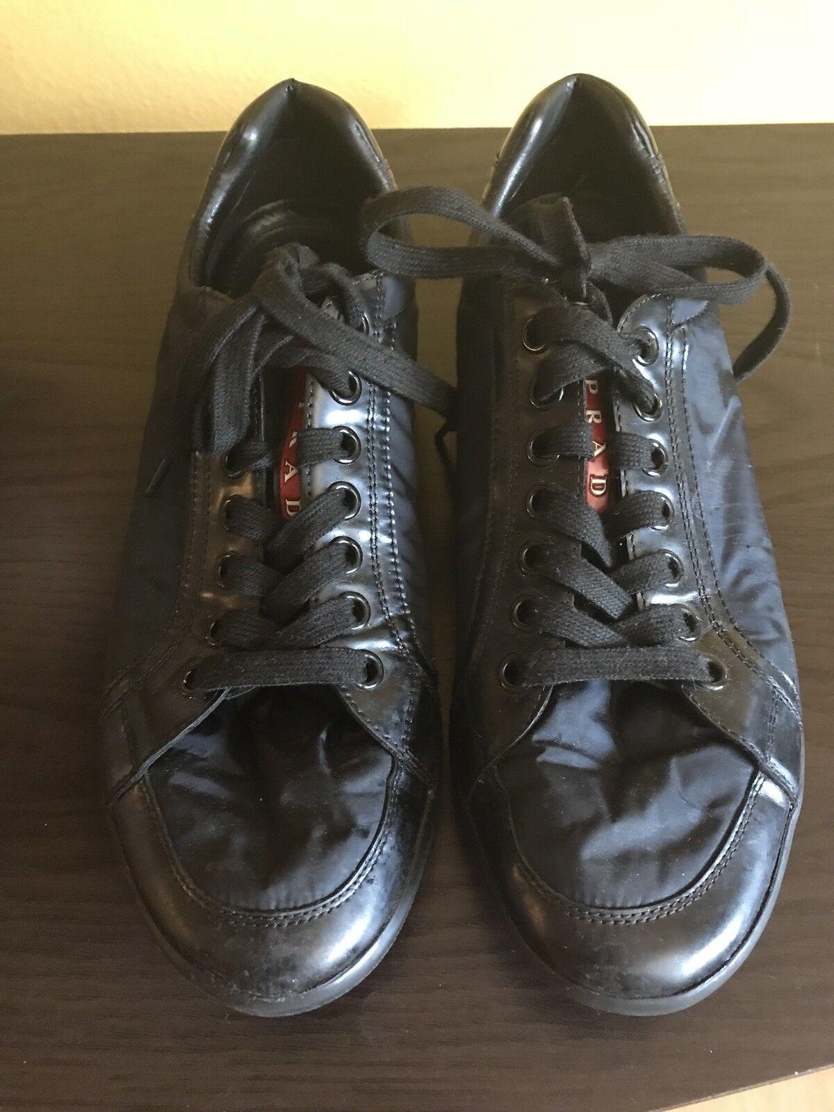 Authentic Prada Men's Offshore scarpe da ginnastica blu Nylon Dimensione 9 4E 2439