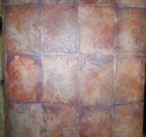 Terra Cotta Blue And Tan Faux Stone Tile Prepasted Vinyl