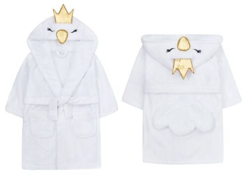 Childrens Girls Novelty Swan Fleece Dressing Gown with Tail /& Crown ~ 2-13 Yrs