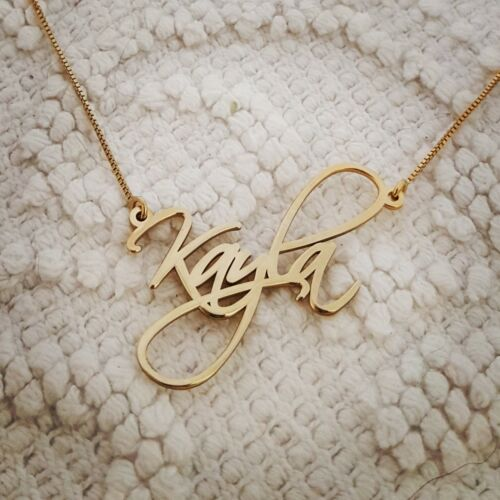 14k Solid Yellow Gold Personalized Name Necklace Kayla necklace ORDER ANY NAME!