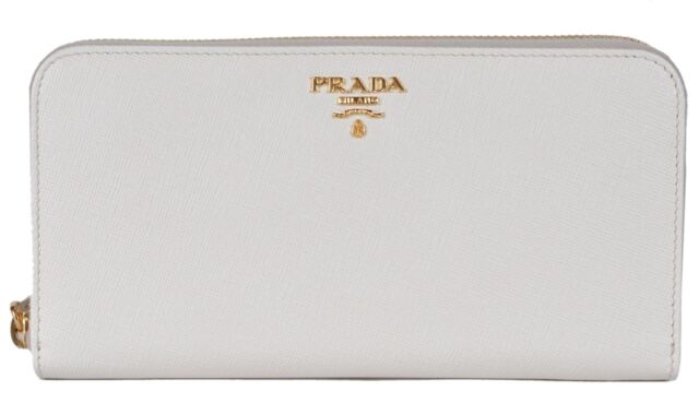 huge selection of 65368 c4211 PRADA Saffiano Leather Accordian Zip Around Latte Cream Wallet 1ml506