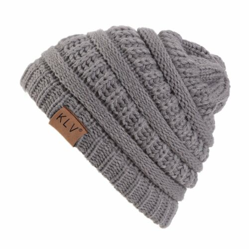 Grey Fashion Boys Girls Warm Crochet Winter Wool Knit Ski Beanie Slouchy Hats