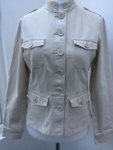 Ladies-Jacket-Size-12-Principles-Stretch-Canvas-Military-Style-Beige-Vintage