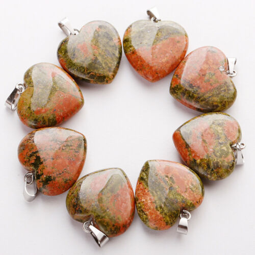 50pcs Natural Quartz Crystal Stone Heart Pendants Charms for jewelry making