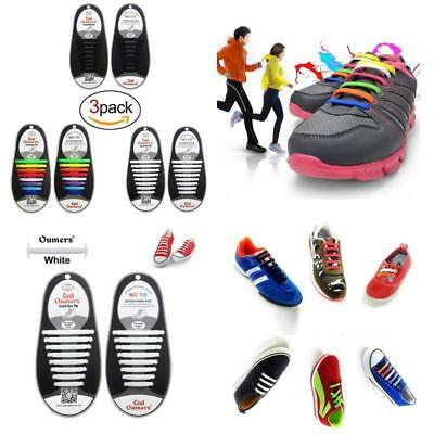 3X Cordones De Zapatos Sin Corbata De Silicona De Lazo Para Hombre Mujer Y Niño