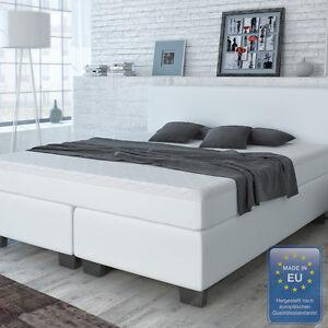 designer boxspringbett bett hotelbett doppelbett kunstleder weiss 180x200 cm ebay. Black Bedroom Furniture Sets. Home Design Ideas