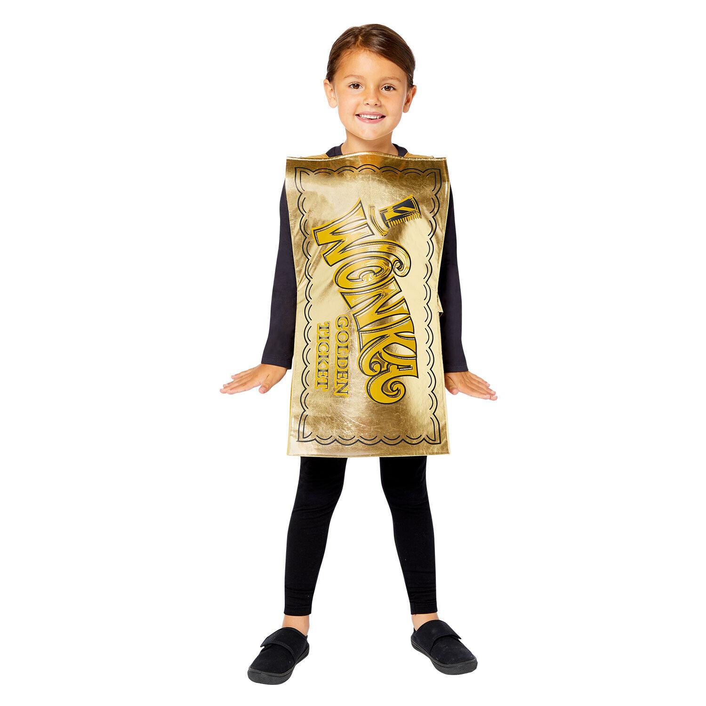 Childs Willy Wonka Golden Ticket Fancy Dress Costume Tabard Kids Wonka Chocolate