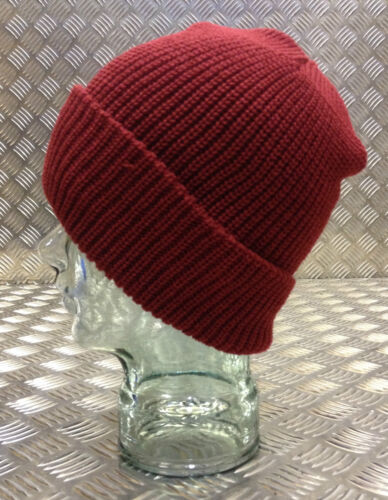 Wool One size Dark Red // Maroon Knitted Beanie Hat // Woolly hat NEW