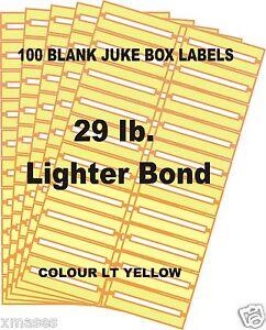 LABELS multi color 28 LB 45rpm FREE SHIPPING 100 BLANK JUKE BOX  TITLE STRIPS