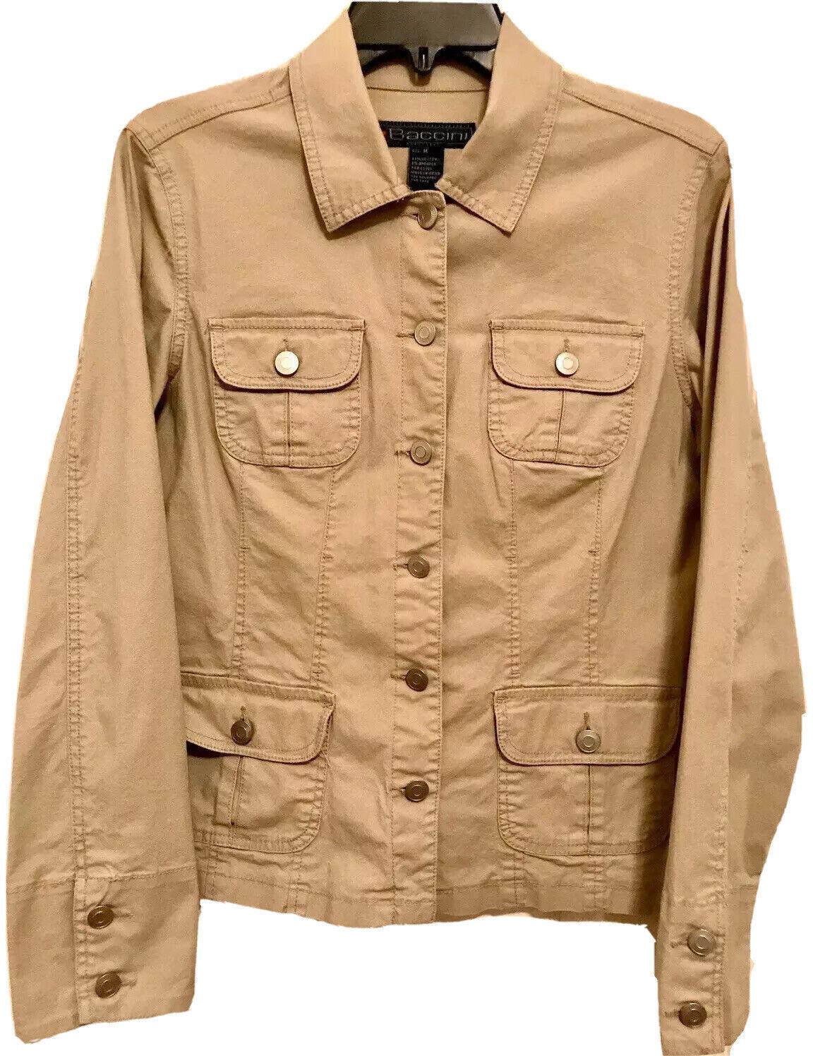 Baccini Women's Safari Utility Cargo Pocket Khaki Cotton Twill Jacket Medium