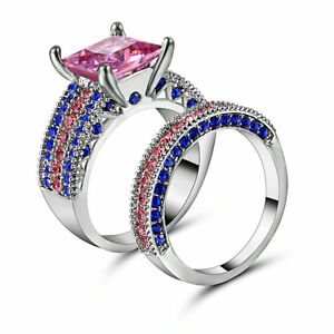 Pink Topaz Wedding Ring Set Pave CZ Band Womens Silver