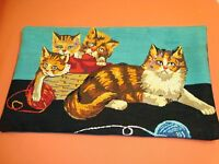 Vtg Complete Needlepoint Tapestry Pillow Sham Calico Cat Family 16 X 27 W Form