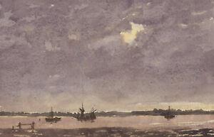 Harry-Herbert-Signed-1996-Watercolour-Seascape-at-Dusk